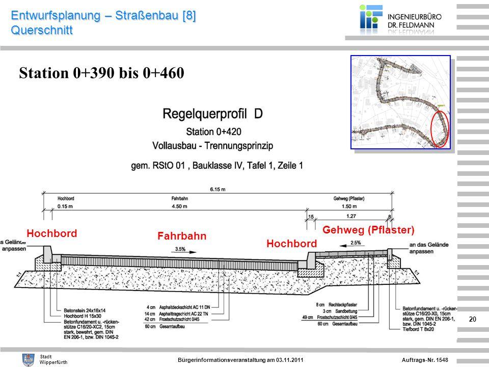 Entwurfsplanung – Straßenbau [8] Querschnitt
